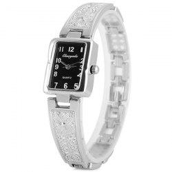 Chaoyada Female Quartz Chain Watch with Arabic Numerals Display Rectangle Dial Steel Watch Band - SILVER