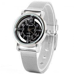 Chaoyada Quartz Watch with Arabic Numbers and Strips Indicate Steel Watch Band for Women -