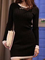 Long Sleeve Mini Jersey Knit Bodycon Dress - BLACK