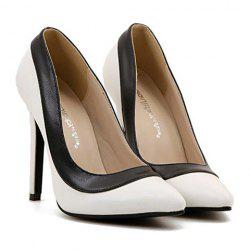 Trendy Pointed Toe and Color Block Design Women's Pumps -