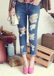Stylish Destroy Wash Jeans For Women -