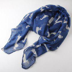 Cute Doggy Print Voile Scarf For Women -