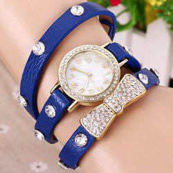 Quartz Wrist Watch Butterfly Knot Diamond Round Dial Leather watchband for Women -