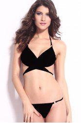 Halter Neck Wrap String Bikini Set - BLACK L