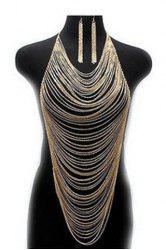 Delicate Special Design Multi-Layered Tassels Women's Body Armor Jewelry and A Pair of Earrings - GOLDEN