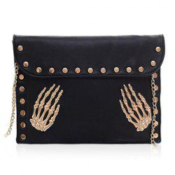 Punk Rivets and Chain Design Women's Shoulder Bag - BLACK