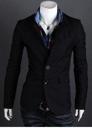 Fashion Style Personality Color Block Lapel Slimming Long Sleeves Men's Cotton Blend Blazer -