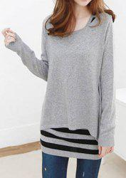 Casual Style Scoop Collar Solid Color Long Sleeve Blouse and Striped Sundress Women's Twinset