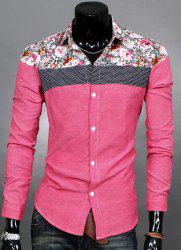 Trendy Slimming Long Sleeves Turn-down Collar Colorful Floral Print Splicing Shoulders Men's Cotton Blend Shirt