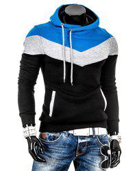 Slimming Trendy Hooded Personality Color Splicing Long Sleeves Men's Thicken Hoodies