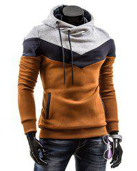 Slimming Trendy Hooded Personality Color Splicing Long Sleeves Men's Thicken Hoodies - CAMEL