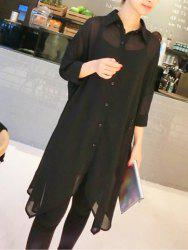 Turn Down Collar Chiffon Longline Button Up Tunic Shirt - BLACK