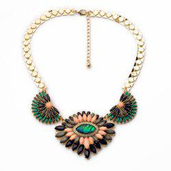 Stylish Colorful Faux Gem Decorated Layered Flower Pendant Necklace For Women -
