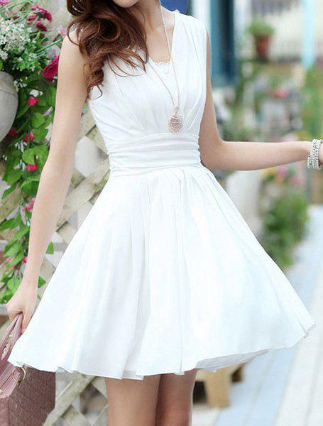 Online Elegant V-Neck Sleeveless Solid Color Chiffon Dress For Women