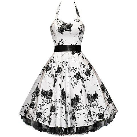 Best Vintage Halterneck Floral Print Sleeveless Pleated Country Western Dresses For Women