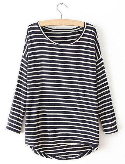 Best Casual Round Neck Striped Asymmetrical Long Sleeve Tops For Women