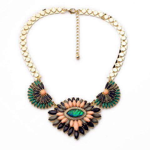 Store Stylish Colorful Faux Gem Decorated Layered Flower Pendant Necklace For Women