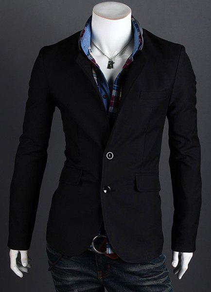 Best Fashion Style Personality Color Block Lapel Slimming Long Sleeves Men's Cotton Blend Blazer