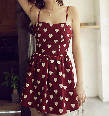 Shops Sexy Spaghetti Strap Sleeveless Heart Print Women's Dress