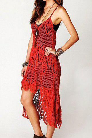 Latest Stylish Spaghetti Strap Openwork Dress For Women
