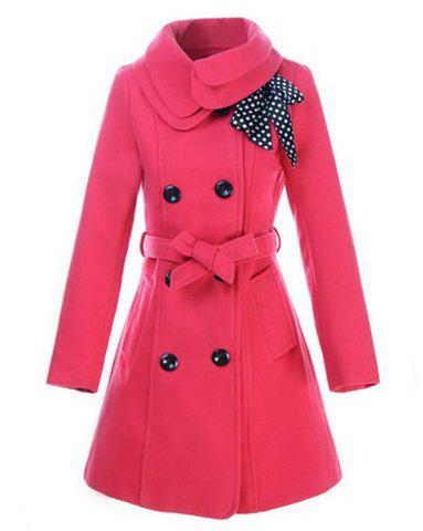 Discount Stylish Turn-Down Collar Long Sleeve Solid Color Coat For Women