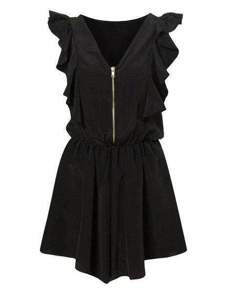 New Vintage V-Neck Flounce Zippered Jumpsuits For Women