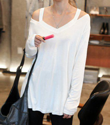 Discount Casual Style V-Neck Off-The-Shoulder Solid Color Long Sleeve Women's T-Shirt