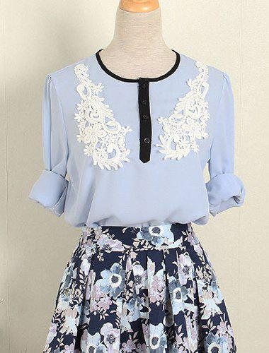 Outfits Vintage Jewel Neck Long Sleeves Lace Splicing Chiffon Blouse For Women