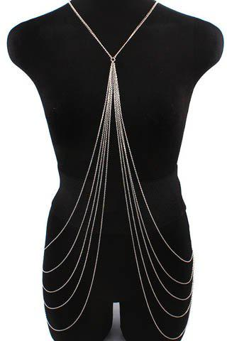 Online Stylish Symmetrical Design X-Shaped Multi-Layered Tassels Women's Body Chain