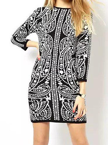 Outfits Vintage Jewel Neck 3/4 Length Sleeves Printed Elastic Dress For Women