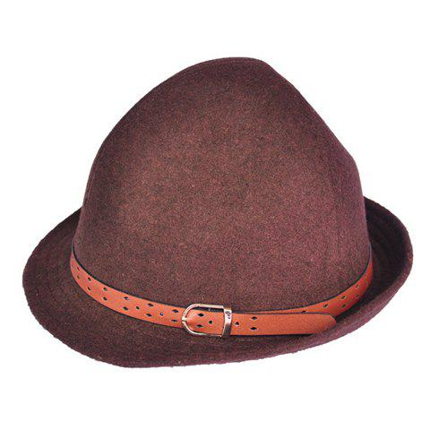 Store Hot Sell Solid Color Belt Buckle Decorated Wool Hat For Women