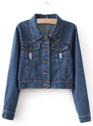 Cheap Fashionable Turn-Down Collar Solid Color Frayed Denim Women's Jacket