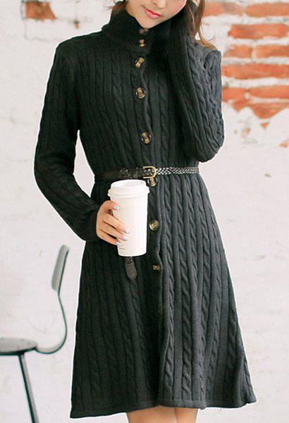 Hot Trendy Long Sleeve Stand-Up Collar Cable-Knit Women's Dress