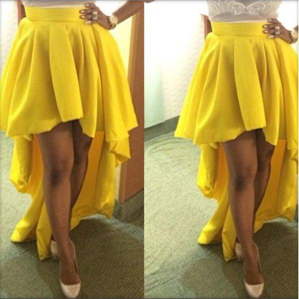 New Trendy Style Solid Color Ruffle Irregular Hem Chiffon Women's Skirt
