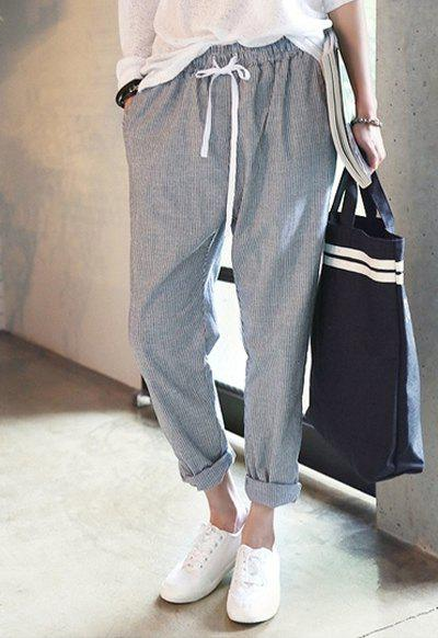 Hot Casual Striped Drawstring Harem Pants For Women