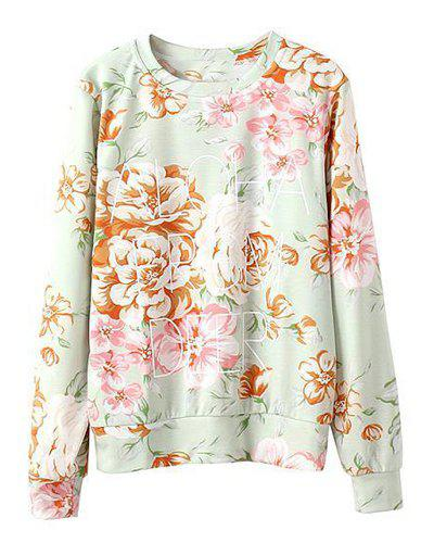 Chic Stylish Round Collar Long Sleeve Full Floral and Letter Print Women's Sweatshirt