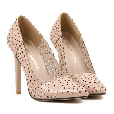Unique Stylish Pointed Toe and Openwork Design Women's Pumps