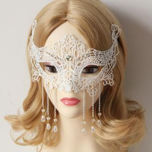 Stylish Women's Openwork Lace Beads Pendant Mask -