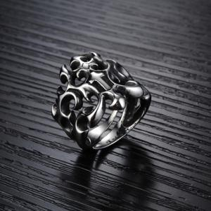 Stylish Solid Color Openwork Ring For Men - SILVER ONE-SIZE