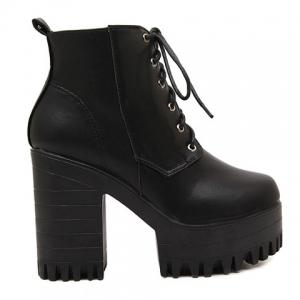 Fashionable Lace-Up and Black Design Women's Short Boots -