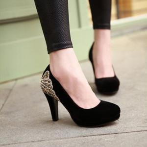 Stylish Chunky Heel and Rhinestones Design Women's Pumps -