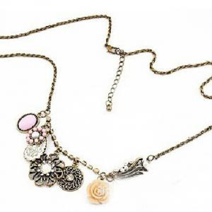 Vintage Style Multielement Large Pendant Necklace -