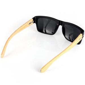 Classic Protection Sunglasses for Outdoor Activities Wooden Legs Quadrate Frame Black PC Lens with Zippered Box -