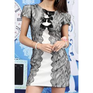 Vintage Jewel Neck Short Sleeves Bowknots Lace Splicing Dress For Women - White And Black - M