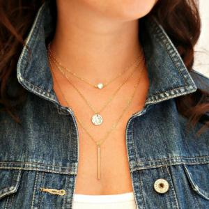 Chic Multi-Layered Round and Coin and Column Bar Shape Necklace For Women -
