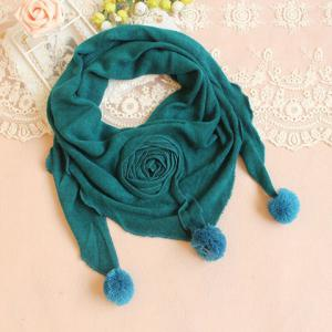 Fashionable Flower and Woll Ball Decoration Triangle Scarf For Women - Color Assorted - Xl
