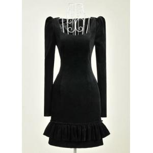 Vintage Long Sleeves Solid Color Flounce Dress For Women -