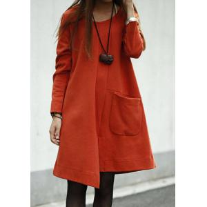 Loose Long Sleeve Round Collar Asymmetrical Hem Women's Dress