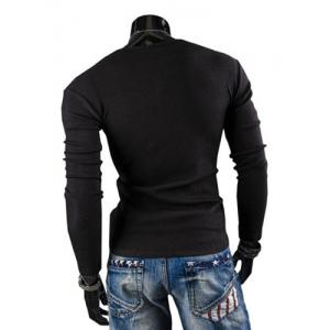 Stylish Round Neck Slimming Solid Color Button Design Long Sleeve Polyester T-Shirt For Men - BLACK L