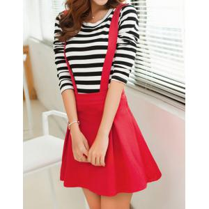 Stylish Scoop Neck Long Sleeve Striped T-Shirt + Solid Color Suspender Skirt Women's Twinset -